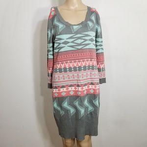 Liv Tribal Longsleeve Sweater Dress Large